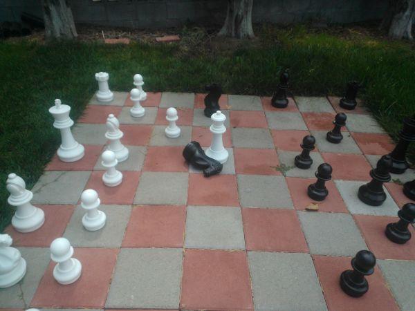 Chess set in the Game Market Guru's front yard.
