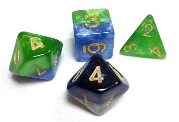 Halfsies dice close up