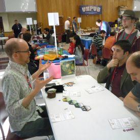 David Chott teaches his unpublished game Lagoon at Unpub4